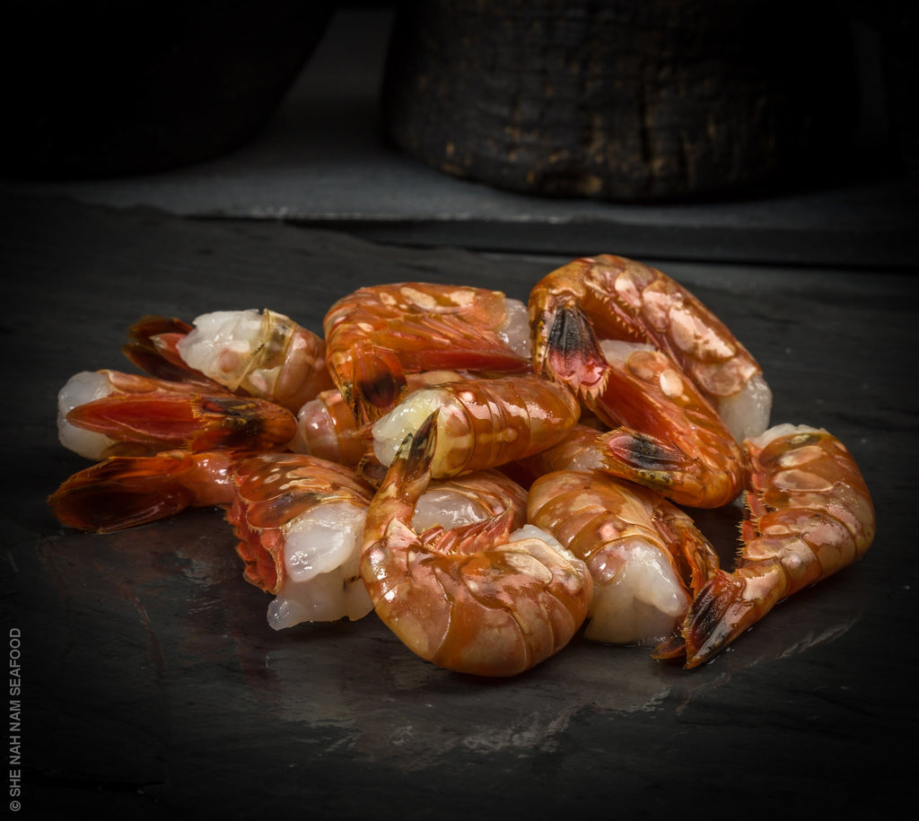 Spot Prawns Head Off Shellfish Seafood
