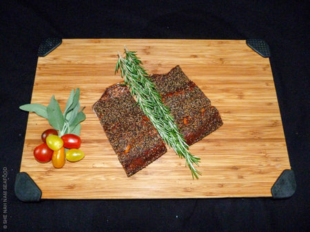 Peppered Smoked Native Caught Steelhead Salmon And Seafood