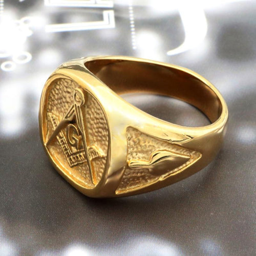 Gold 316L Stainless Steel Masonic Ring