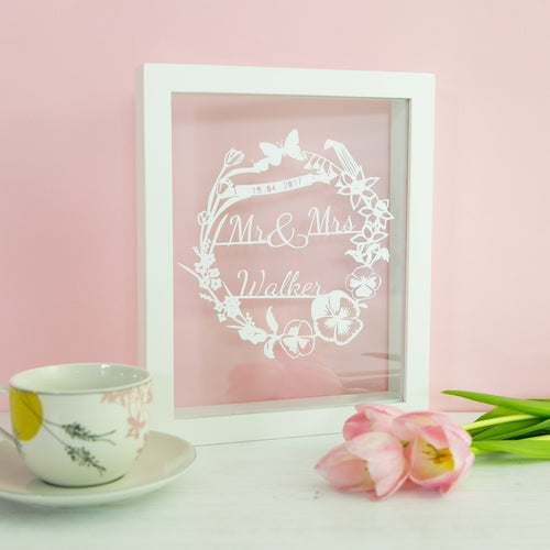 Personalised Spring Wedding Papercut