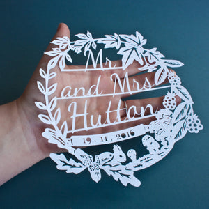 Personalised Autumn Wedding Papercut