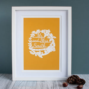 Personalised Autumn Wedding Papercut Print