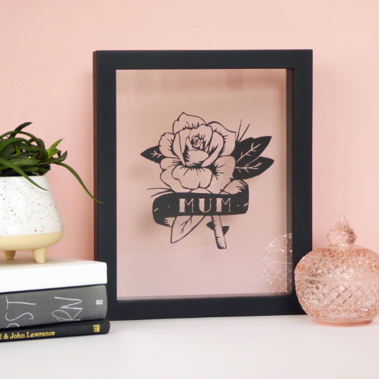 Rose & Scroll Tattoo Style Mum Papercut