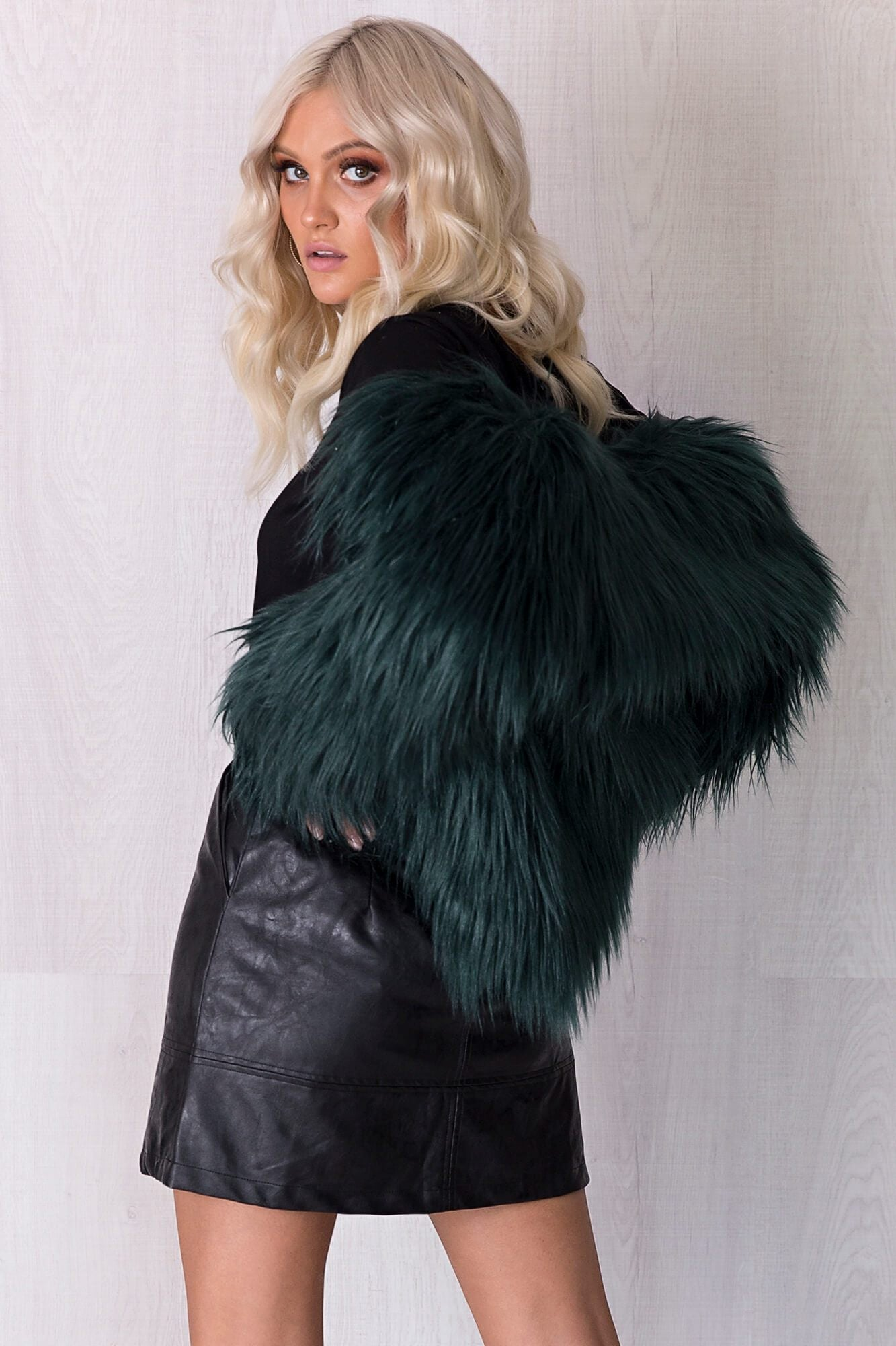 Skylar Faux Fur Jacket - Emerald
