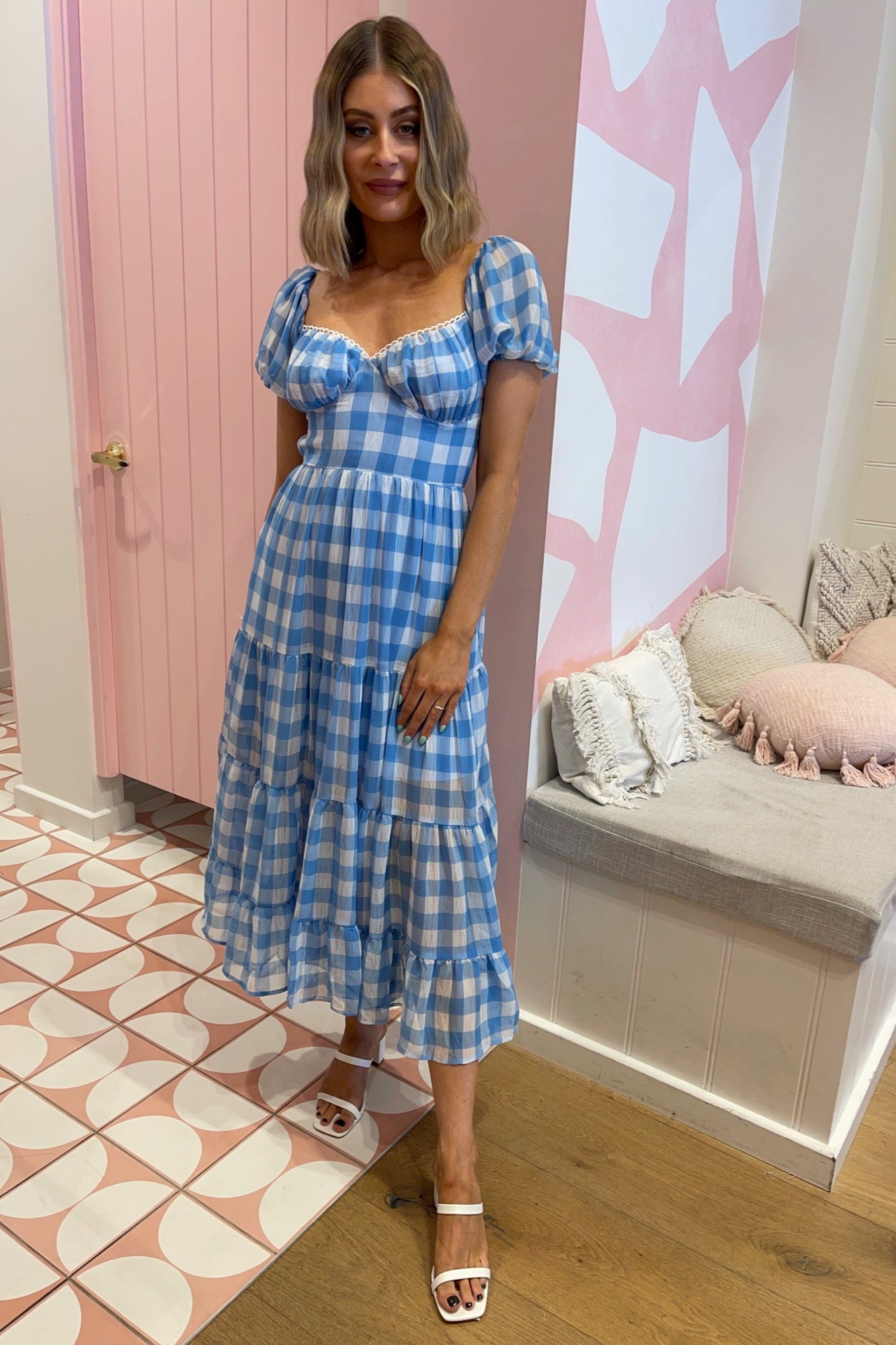 Salita Dress - Blue Check
