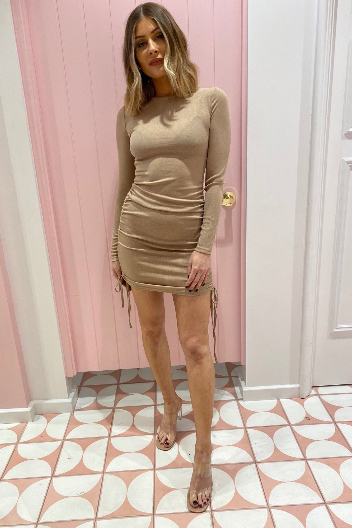 Queue LS Dress - Nude