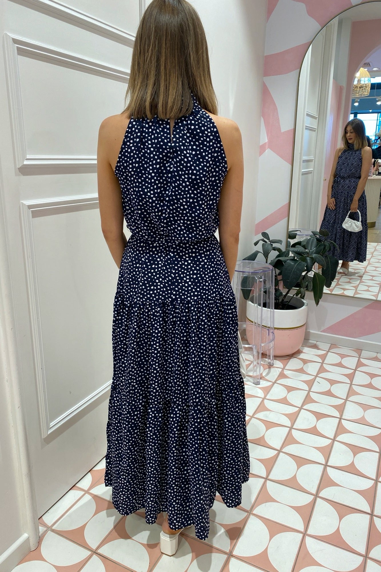 Reva Dress - Navy Spot