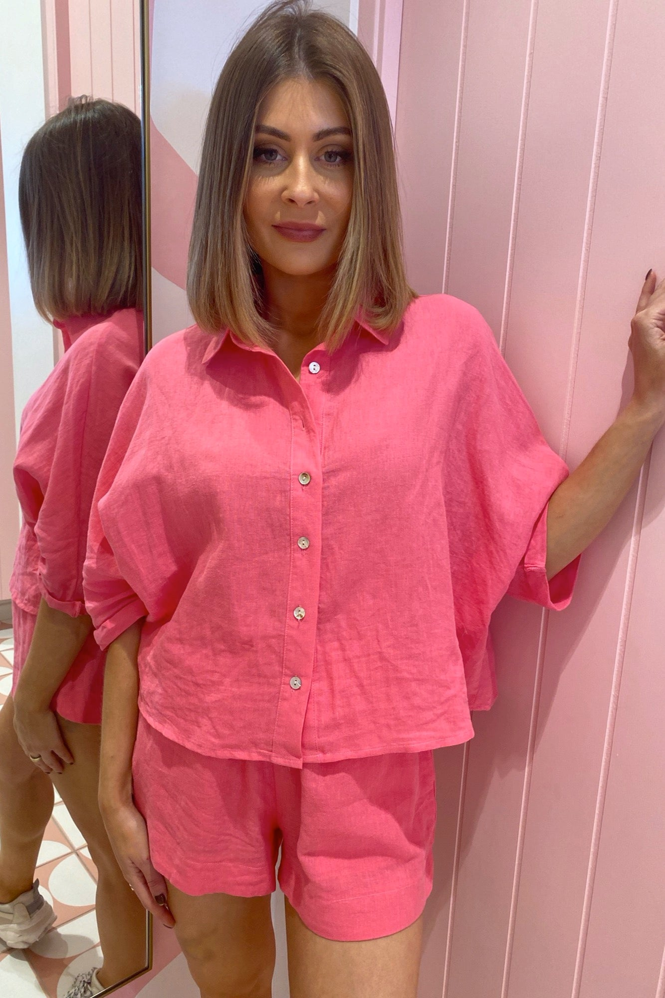 Libby Linen Shirt - Hot Pink