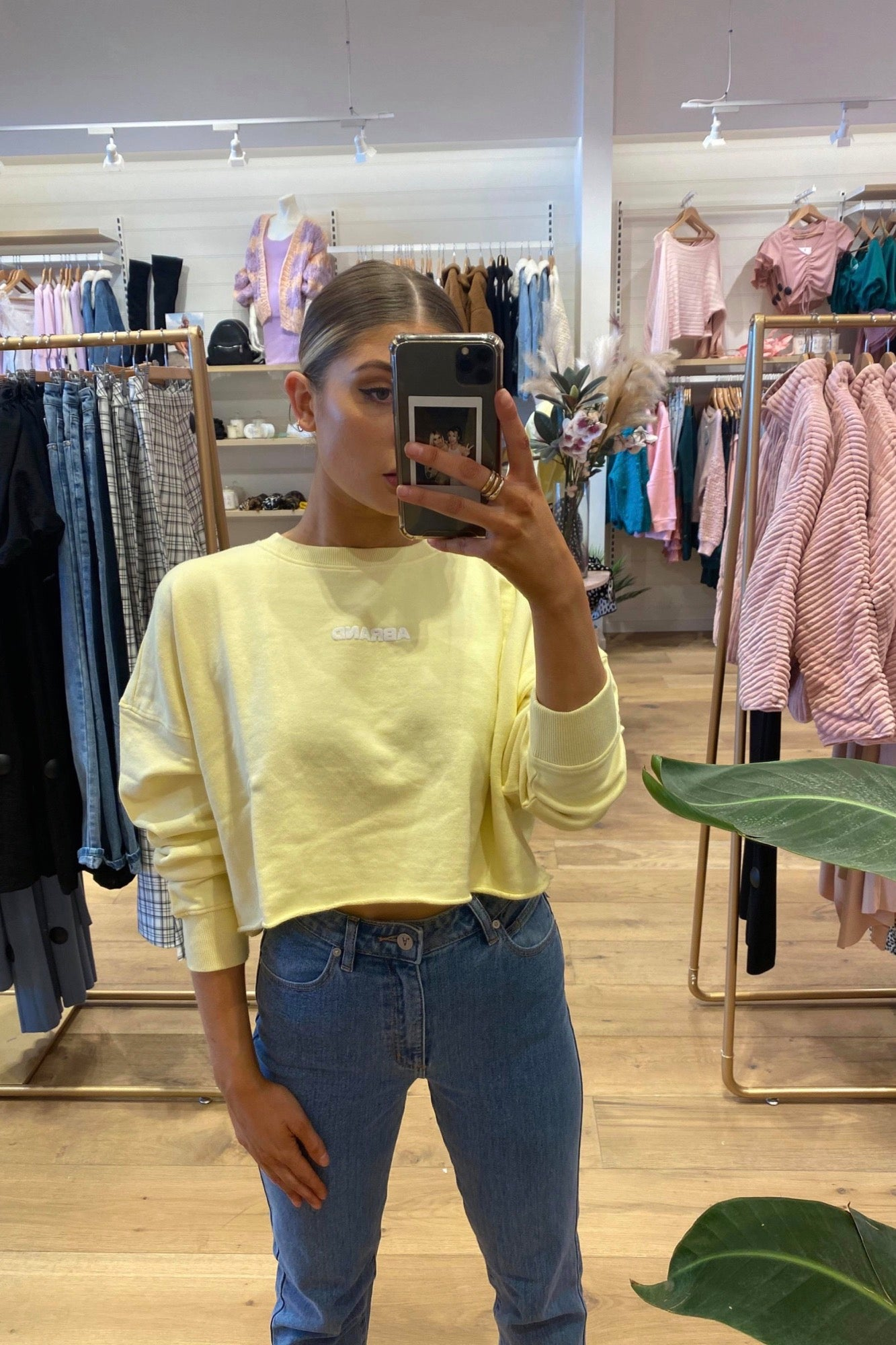 A Oversized Cropped Sweater - Citron