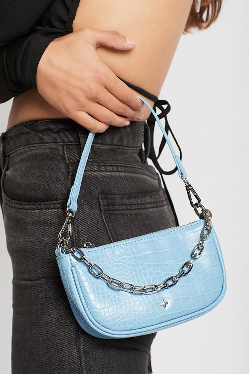 Portia Bag - Pastel Blue Croc