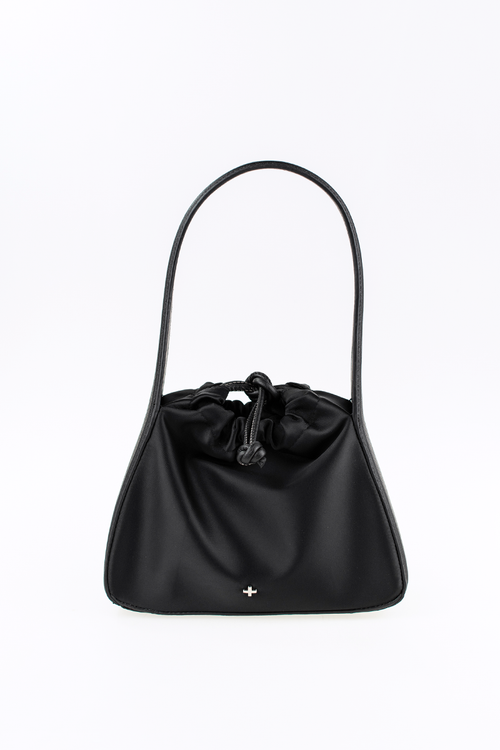 Ascot Shoulder Bag - Black Satin