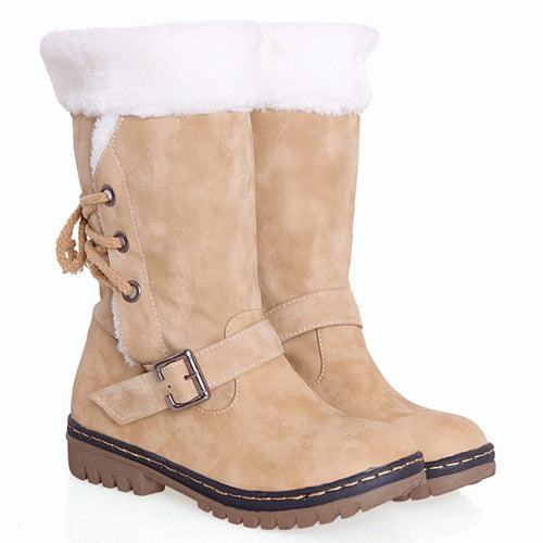 Winter Warm Fur Inside Lace-up Snow Boots PU Leather Solid Round Toe