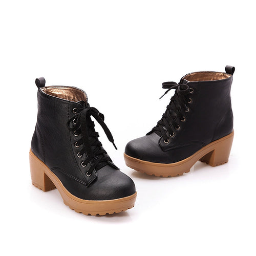 Fashion Punk Boots Retro Thick Heels Ankle Round Toe Platform