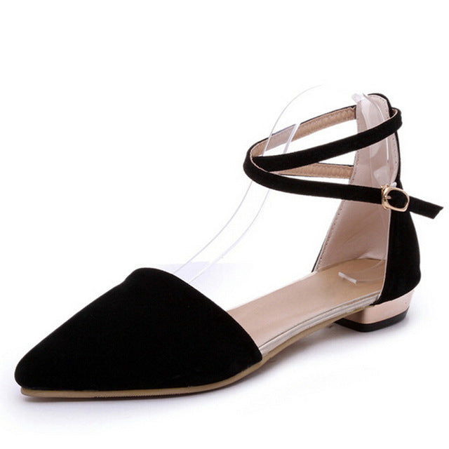 Pumps Plain Ankle Strap Buckle Low Heels Summer Pointed Toe Casual