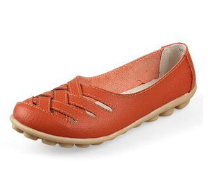 Nest Hole Women Shoes Summer Split Leather Comfort Flats Candy Color