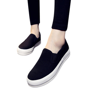 Casual Platform Canvas Shoes Solid Loafers Slip On