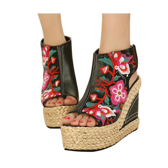 Flower Embroider Wedge Pumps Summer Zip Party Fashion Shoes