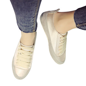 Platform Loafers Gold Silver Lace-Up Flats Spring Creepers Casual