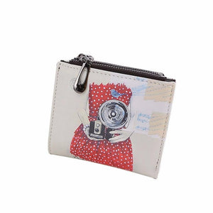 Women Vintage Camera Printing Girl Coin Clip Purse Short Wallet Clutch