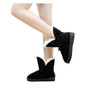 Snow Bow tie Slip-On Soft Boots Round Toe Flat