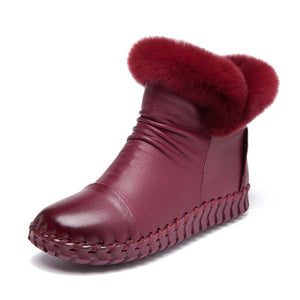 Handmade Winter Boots Real Fur Genuine Leather Warm Ankle Snow