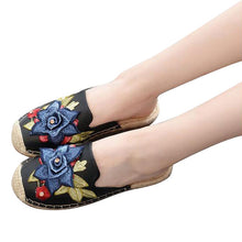 Embroidery Slippers Flats Slides Casual Fisher Slip On Platform