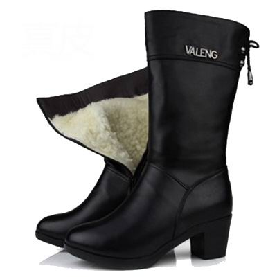 Winter Wool Fur Inside Warm High Heels Genuine Leather Handmade Snow Boots