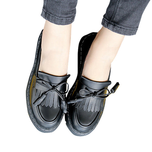 Creepers Platform Tassel Loafers Casual Slip On Flats British Style Oxfords