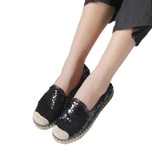 Bling Loafers Weave Straw Ballet Flats Casual Fisherman Slip On Comfort Flats