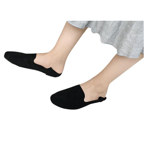 Flats Soft Leather Flock Vamp Women Causal Shoes Slip-on
