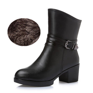 Winter Snow Boots Mid-Calf Solid Thick High Heels Genuine Leather Warm Plush