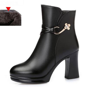 Platform Ankle Round Toe High Heels Winter Genuine Leather Boots