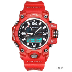 Dual display sports watches fashion LED Digital wrist  30cm water resistant clock