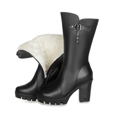 Warm Wool Genuine Leather Snow Boot High Heels Mid-Calf