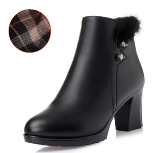 Genuine Leather Ankle Warm High Heels Winter Boot