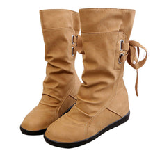 Winter Snow Boots Mid-Calf Solid Wedges Leather