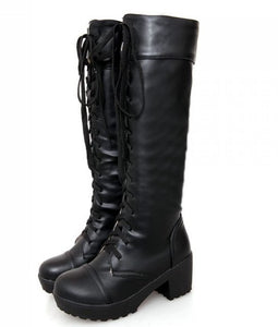 High heel over knee boots motorcycle autumn winter cross strap