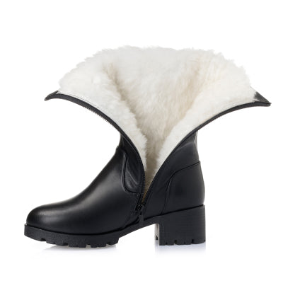 Genuine Leather Thick Wool Winter Warm Snow Boots Mid-calf High Heels Platform