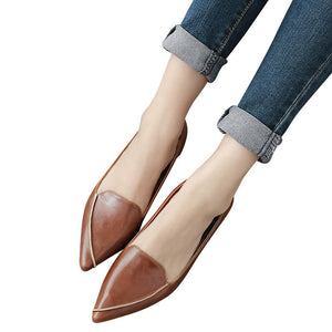 Spring Loafers Split Leather Solid Moccasin Platform