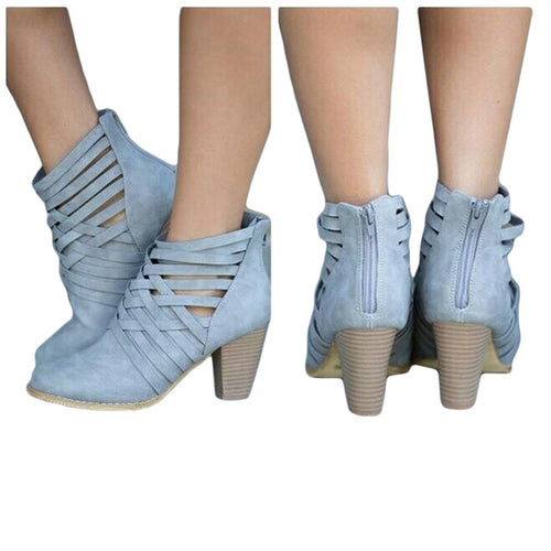 Spring Short Boots Hollow Out High-heeled Ankle Booties