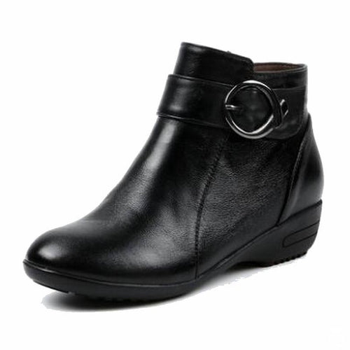Winter Genuine Leather Flat Ankle Boots Warm Snow