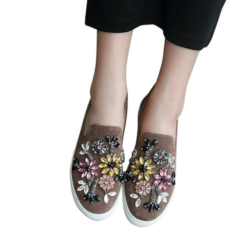Appliques Loafers Slip On Flats Comfortable Casual Platform Autumn Flock Ballet