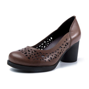 Pumps Genuine Leather Hollow Handmade Vintage High Heel Shoes