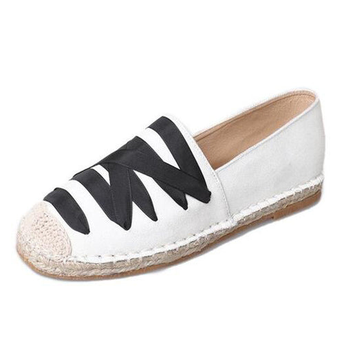 Flats PU Leather Fisherman's Round Toe Weave Solid Shoes Slip-on