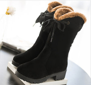 Fur Flexible  Warm Winter Short Riding Boots Lace-Up