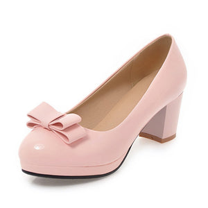 Sweet Bow-tie Chunky Heels Slip On Platform Office Casual Spring Shoes