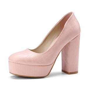 Vintage Square High Heels Shoes On Platform Pumps
