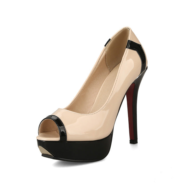 Retro Super High Heels Black White Women platform Toe Pumps