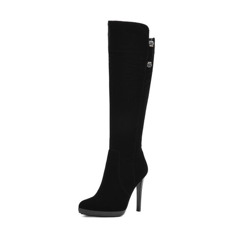 Thin High Heel Pointed Toe Platform Zipper Closure Suede Upper Knee Boots