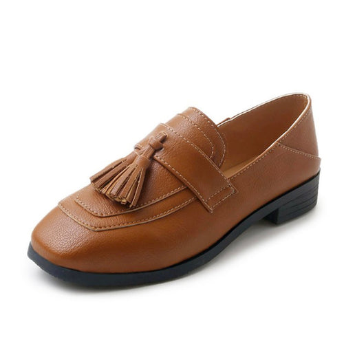 Square Toe Loafers Soft Leather Fashion Fringe Shallow Slip-on Breathable Flats